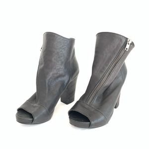 Latitude Femme Open Toe Leather Booties Adjustable